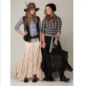 Free People LONG Black Lace Skirt Sheer Maxi $148